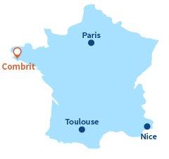 Localisation de Combrit et de Sainte Marine en Bretagne
