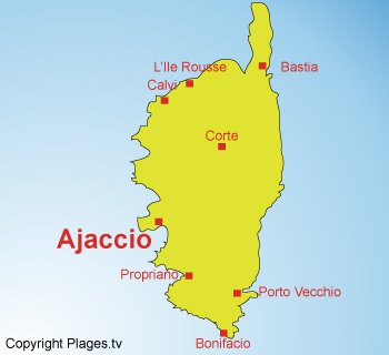 Map of Ajaccio - France