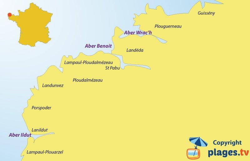 Carte de la côte des Abers en Bretagne