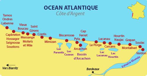 Carte de la Côte d'Argent (Gironde et Landes)