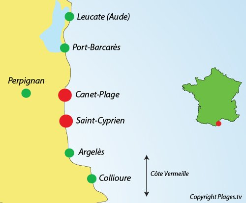 Map of the Pyrenees Orientales seaside resorts around Perpignan in France