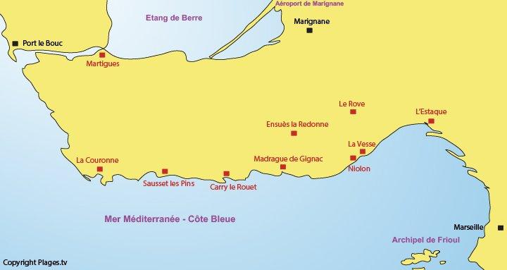 Carte de la Côte Bleue et des points d'intérêts