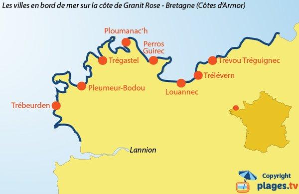 Carte des stations balnéaires de la Côte de Granit Rose - Bretagne