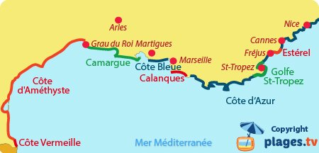 Map of the French Mediterranean coast