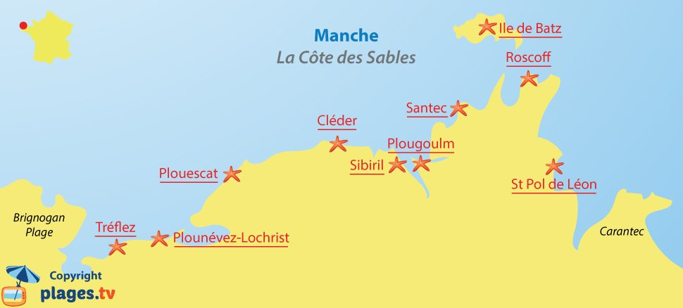 Carte de la côte des Sables en Bretagne - Plages et stations balnéaires