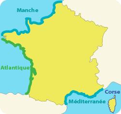 Carte des côtes françaises