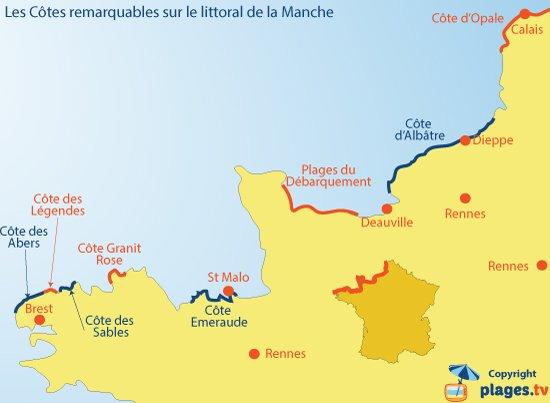 Carte des Côtes et des plages le long de la Manche - France