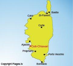 Location of Coti Chiavari in Corsica