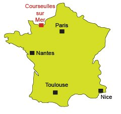 Map of Courseulles sur Mer in Normandy
