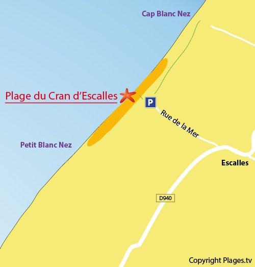 Carte de la plage du Cran d'Escalles