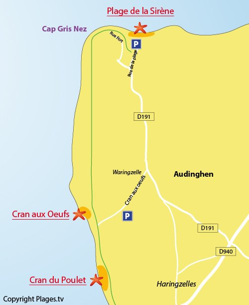 Map of Cran aux Oeufs Beach in Audinghen