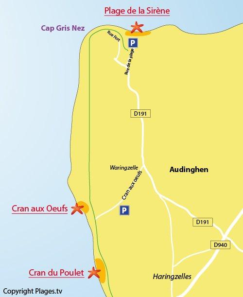 Plan de la plage du Cran aux Oeufs d'Audinghen