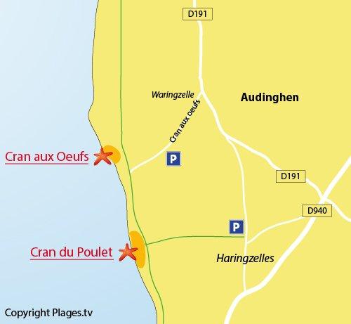 Plan du Cran du Poulet à Audinghen