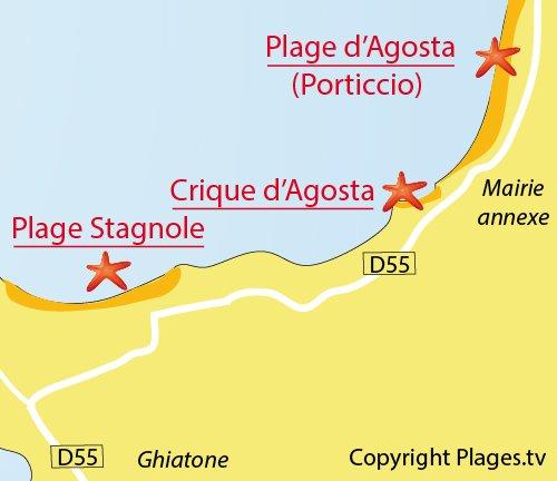 Carte de la crique d'Agosta à Pietrosella