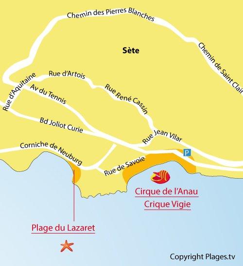 Plan de la crique de l'Anau et de la Vigie à Sète