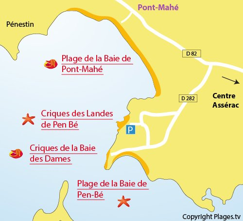 Map of Beach of Baie des Dames in Assérac