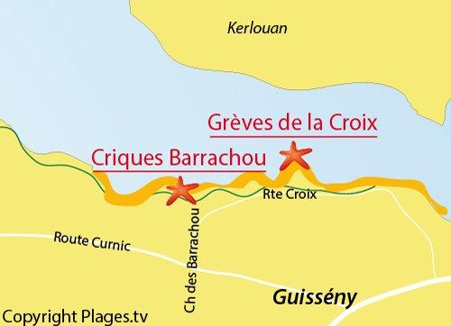 Carte de la crique de Barrachou à Guissény