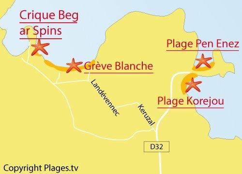Carte de la crique de Beg ar Spins à Plouguerneau