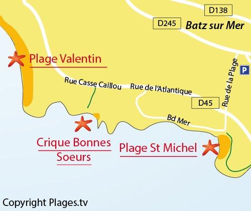 Map of Cove of Bonnes Soeurs Bay - Batz sur Mer