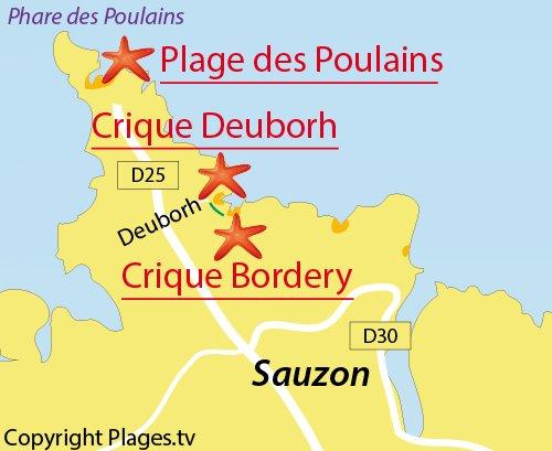 Carte de la plage de Bordery à Belle Ile en Mer