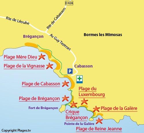 Mappa della Cricca di Brégançon a Bormes les Mimosas