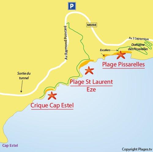 Carte des criques autour du Cap Estel à Eze