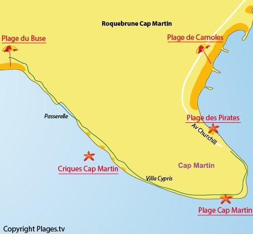 Plan des criques du Cap Martin (06)