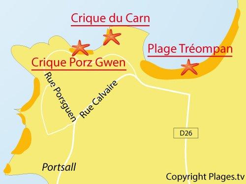 Carte de la plage du Carn à Portsall