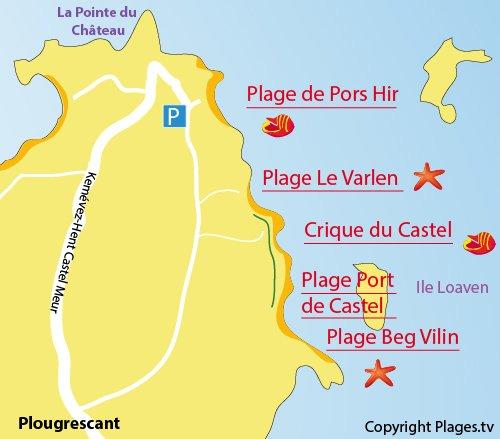 Carte de la crique du Castel à Plougrescant