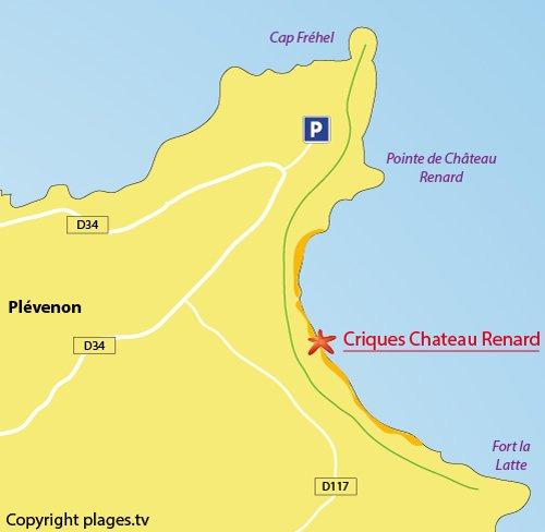 Carte de la plage de la pointe du chateau Renard au Cap Fréhel