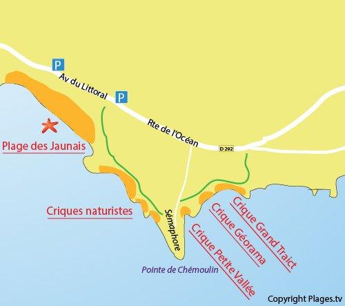 Carte des criques de Chémoulin à St Nazaire
