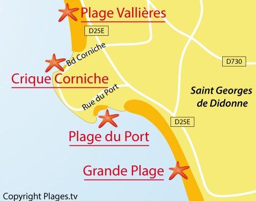 Carte de la crique de la Corniche à St Georges de Didonne