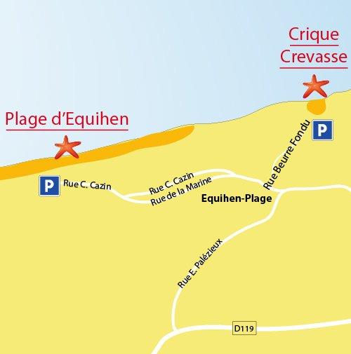 Plan de la plage de la Crevasse à Equihen