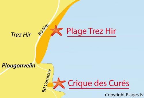 Carte de la crique des curés à Plougonvelin