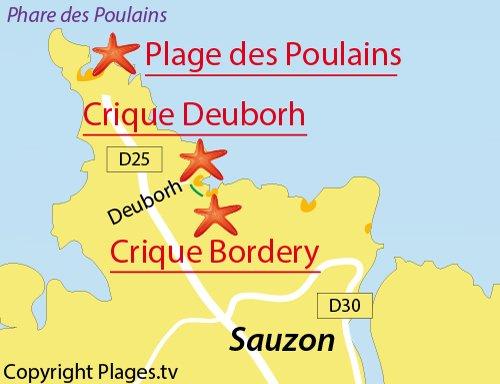 Carte de la crique de Deuborh à Belle Ile en Mer