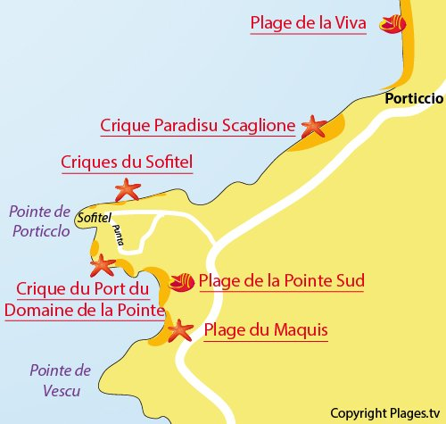 Map of Port Cove in Porticcio