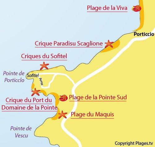 Mappa della Cricca del Porto del domaine de la Pointe - Porticcio