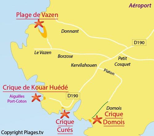 Carte de la crique de Domois à Belle Ile en Mer (Bangor)