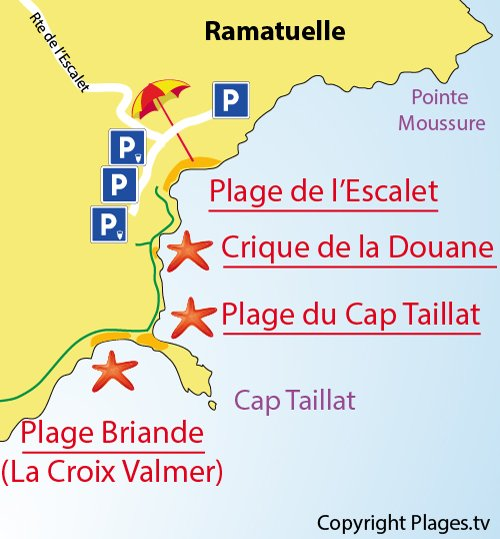 Map of Douane Creek in Ramatuelle