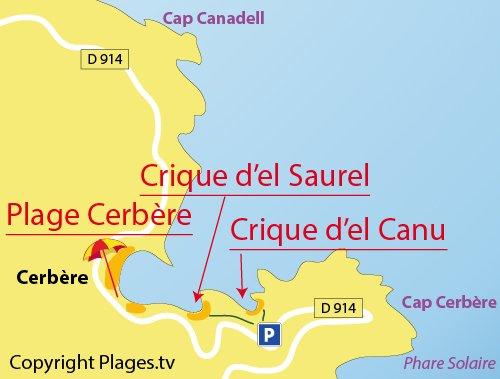 Plan de la crique d'El Canu à Cerbère