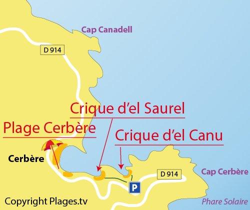 Mappa della Cala d'El Saurel a Cerbère