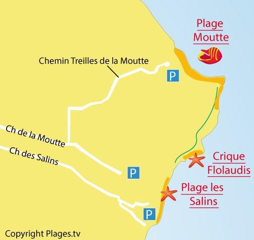 Carte de la crique de Flolaudis à St Tropez