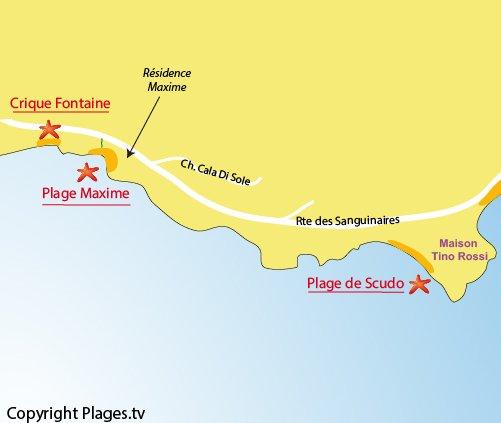 Plan de la crique de la Fontaine à Ajaccio