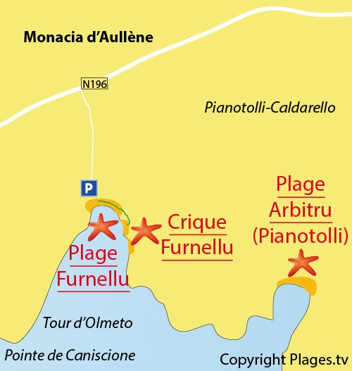 Map of Furnellu Cove in Corsica
