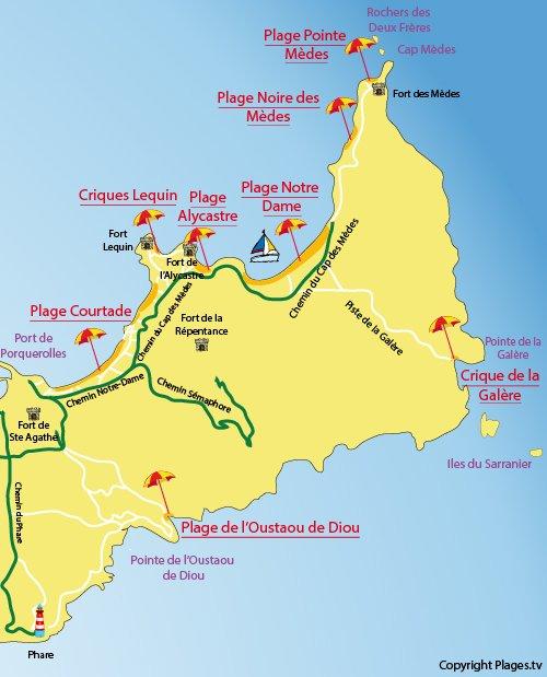 Mappa della Cricca della Galère a Porquerolles