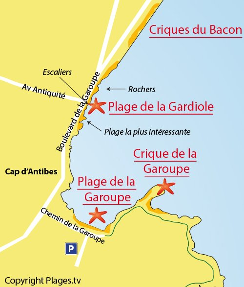 Map of Gardiole Beach in Cap d'Antibes