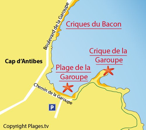 Map of Garoupe Creek in Cap d'Antibes