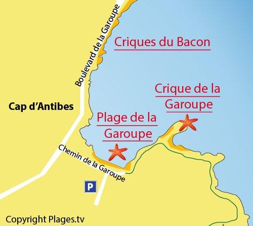 Plan des criques de la Garoupe au Cap d'Antibes