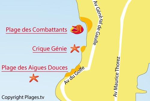 Carte de la crique du Génie à Port de Bouc