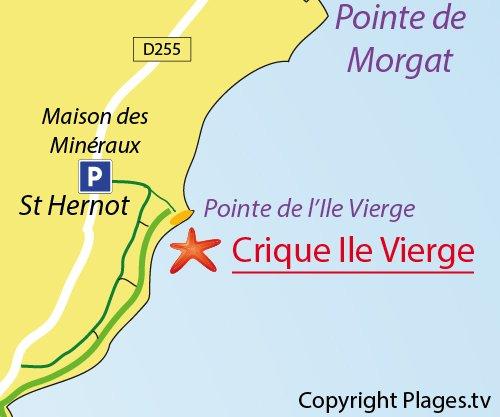Map of Ile Vierge Creek in Crozon